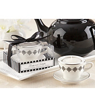 Kate Aspen Black Damask Ceramic Teacup Tealight Holder