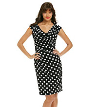 Ronni Nicole® Drapeneck Dot Print Knit Dress