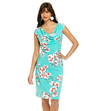 Ronni Nicole® Drapeneck Floral Print Knit Dress