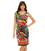 Ronni Nicole® Drapeneck Print Belted Knit Dress