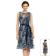 Jessica Howard® Print Pintuck Ruffle Hem Dress