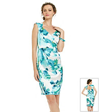London Times® Floral Print Surplice Sheath Dress