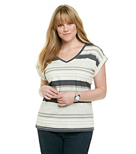 Calvin Klein Performance Plus Size Short Sleeve Roll Tab V-Neck Striped Tee