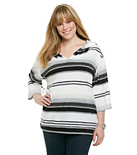 Calvin Klein Performance Plus Size Multi Striped Poncho with Hood