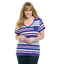 Calvin Klein Performance Plus Size Short Sleeve Vintage Slub Striped Tee