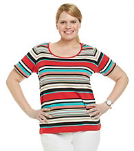 Jones New York Sport® Plus Size Short Sleeve Scoopneck Striped Tee