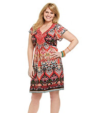 Oneworld® Plus Size Flutter Sleeve Embroidered Dress