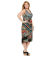 Oneworld® Plus Size Sleeveless Dress with Sequins