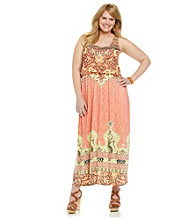 Oneworld® Plus Size Scoopneck Sleeveless Maxi Dress With Embellished Front