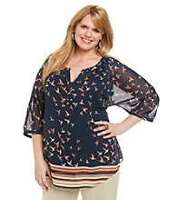 Black Rainn™ Plus Size Pull-Over Woven Top