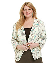 Black Rainn™ Plus Size Floral Printed Jacket