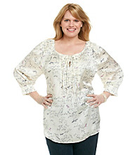 Black Rainn™ Plus Size Long Sleeve Printed Woven with Pleated Neck Line