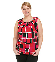 Calvin Klein Plus Size Square Print Pleatneck Sleeveless Cami