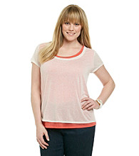 DKNY JEANS® Plus Size Sheer Double Layered Sleeveless Scoopneck Top