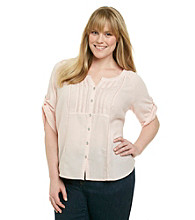DKNY JEANS® Plus Size Mixed Media Buttondown Top With Pintucks