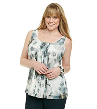 DKNY JEANS® Plus Size Floral Printed Sleeveless Top with Pleating On Front