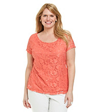 Fever™ Plus Size Scoopneck Lace Top