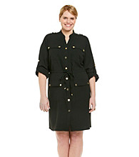 Calvin Klein Plus Size Safari Roll Tab Sleeve Shirt Dress