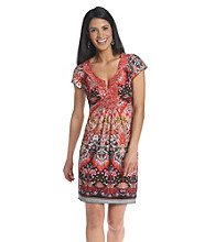 Oneworld® Petites' Flutter Sleeve Embroidered Notch Scoopneck Dress