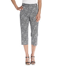 Rafaella® Petites' Printed Black And White Sateen Crop Pants