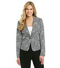 Rafaella® Petites' Printed Black/White Sateen Long Sleeve Jacket
