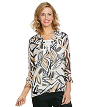Alfred Dunner® Petites' Point Collar Front Buttonup Layered-Look Shirt