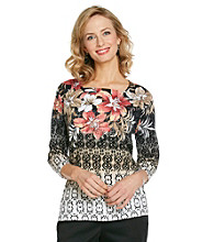 Alfred Dunner® Petites' Square Neckline Tropical Top