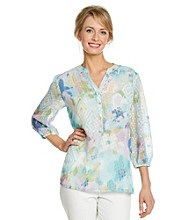 Alfred Dunner® Petites' Mandarin Collar Half Way Front Button Blouse