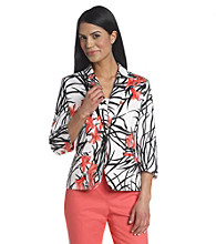 Notations Petites' One Button Gordonsville Print Jacket