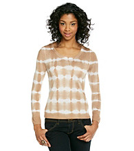 Kensie® Fine Gauge Tie-dye Striped Sweater