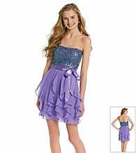 Hailey Logan Juniors' Sequin Ruffled Party Dress