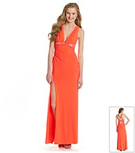 Hailey Logan Juniors' Deep V-neck Slim Gown