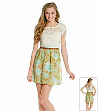 As U Wish® Juniors' Crochet Floral Skirt Belted Dress