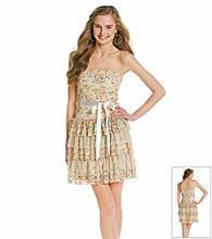 As U Wish® Juniors' Printed Lace Tiered Dress