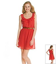 As U Wish® Juniors' Swiss Dot Belted Dress