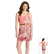 As U Wish® Juniors' Printed Lace Tank Dress