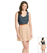 As U Wish® Juniors' Chambray Lace Tank Dress