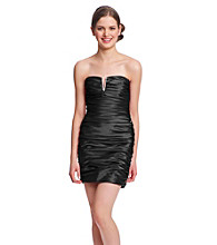 Hailey Logan Juniors' Ruched Satin Strapless Dress