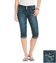 Wallflower Vintage® Juniors'Roll Cuff Bling Pocket Cropped Jeans