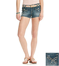 Wallflower Vintage® Juniors' Mixed Fabric Braided Belt Shorts