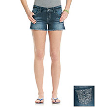 Wallflower Vintage® Juniors' Fleur-De-Lis Bling Back Pocket Shorts