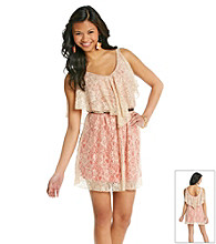 XOXO® Juniors' Belted Lace Dress