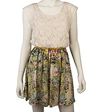 A. Byer Juniors' Floral Print Lace Dress