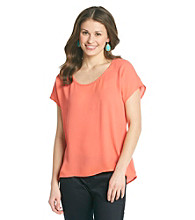 Eyeshadow® Juniors' High-Low Woven Top