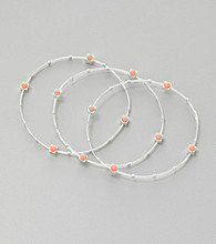Marsala Set of Three Coral and Silver Plated Stainless Steel Flex Wire Bracelets