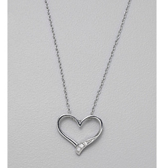 """Designs by FMC 18"""" Sterling Silver and Cubic Zirconia Open Heart Slide Pendant"""