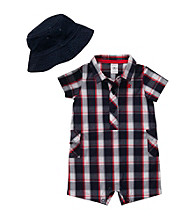 Carter's® Baby Boys' Navy/Red Woven Romper and Hat Set