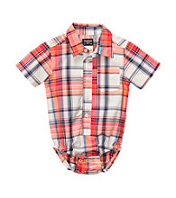 OshKosh B'Gosh® Baby Boys' Orange Plaid Woven Bodysuit