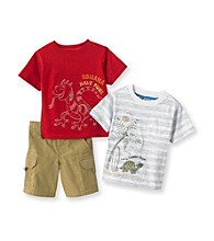 Nannette® Baby Boys' Red 3-pc. Iguana Shorts Set
