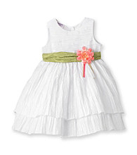 Heartworks Baby Girls' White Crinkle Dress with Sash